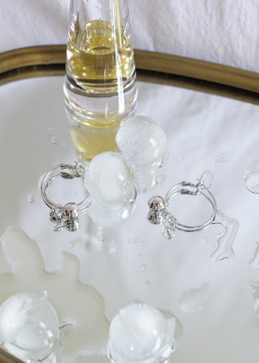 crystal ball ring earring