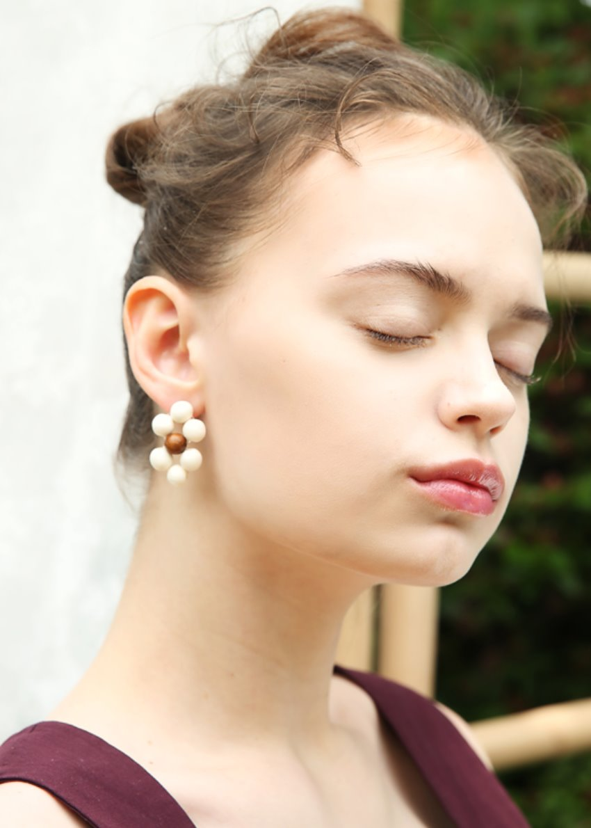 wood wood ball earring