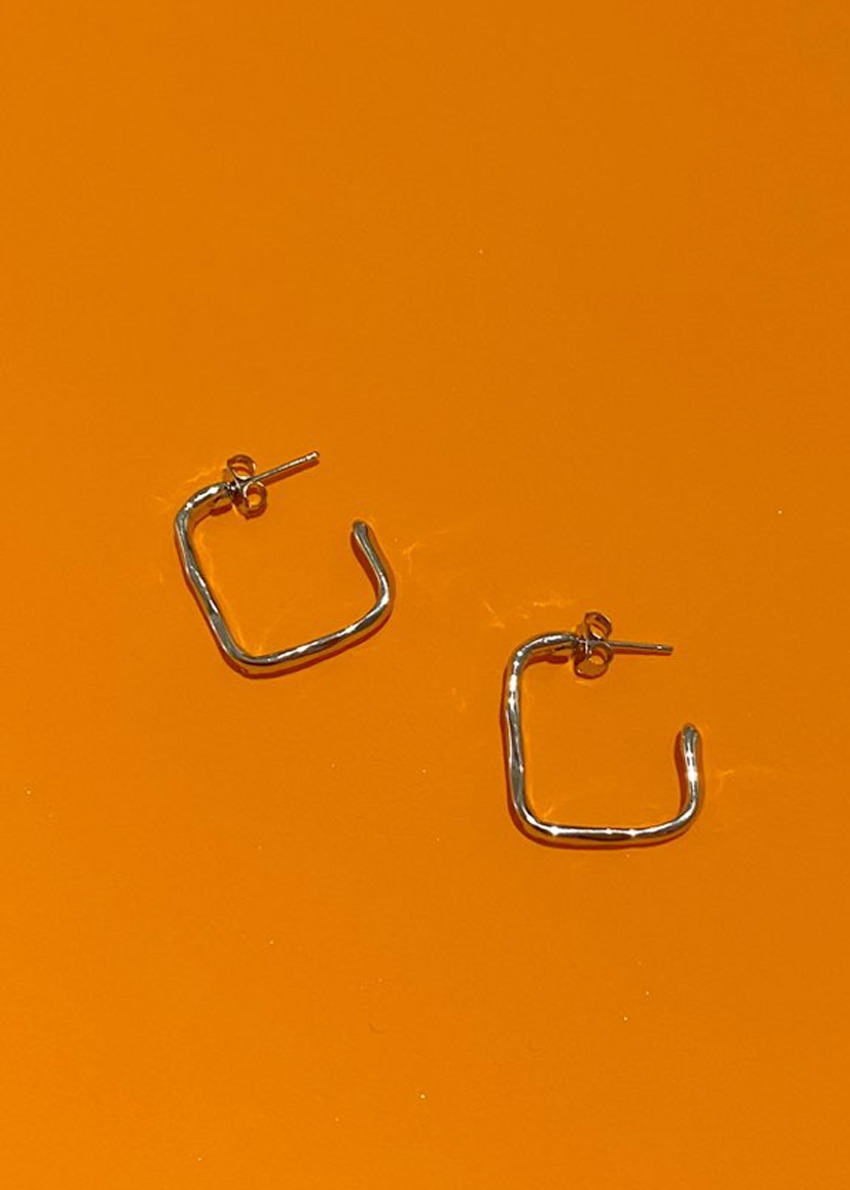flow square 2 sliver earring