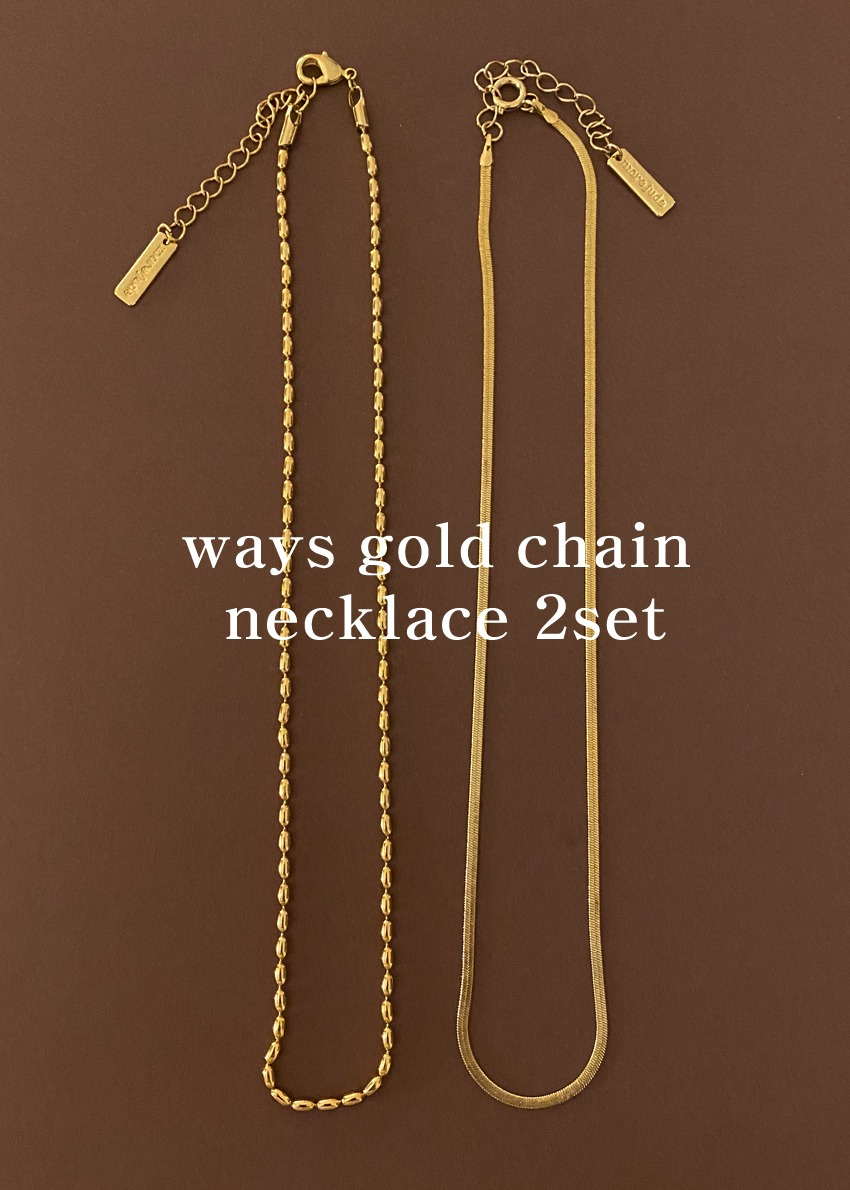 [단독]ways gold chain necklace 2set